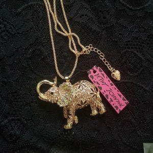 Betsey Johnson Lucky Elephant Necklace
